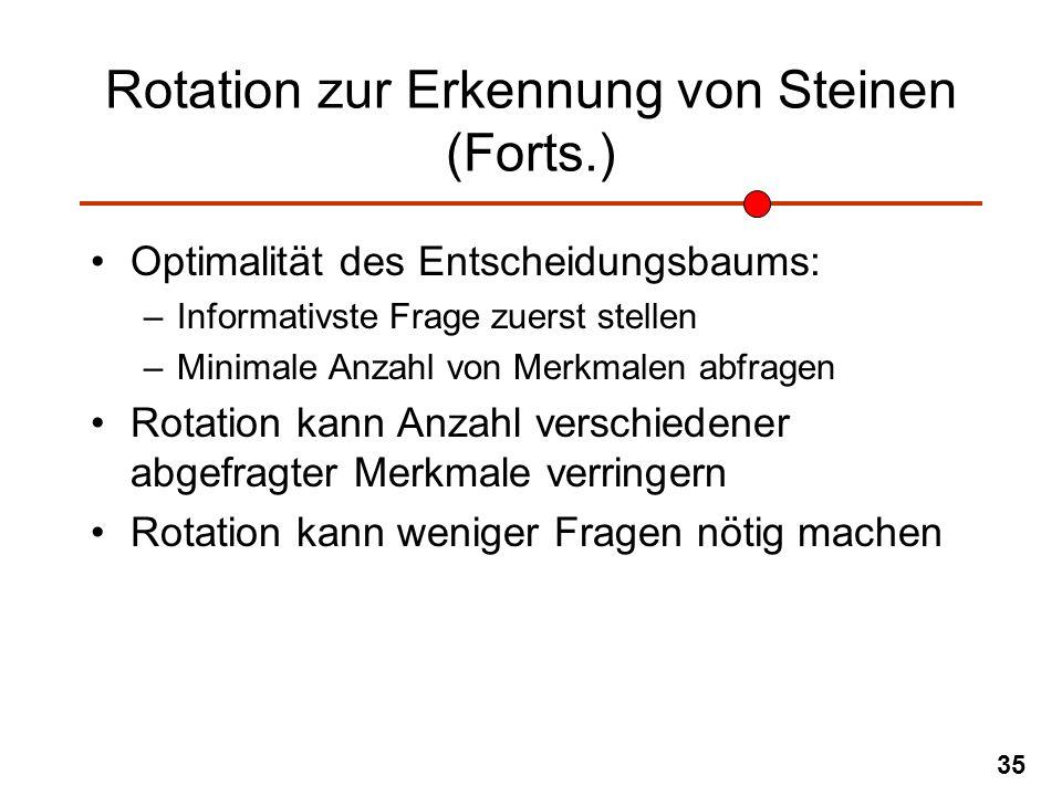 35 Rotation zur Erkennung von Steinen (Forts.) Optimalität des Entscheidungsbaums: –Informativste Frage zuerst stellen –Minimale Anzahl von Merkmalen