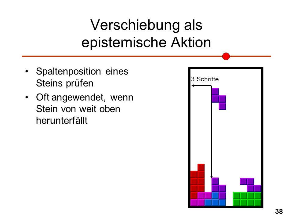 38 Verschiebung als epistemische Aktion Spaltenposition eines Steins prüfen Oft angewendet, wenn Stein von weit oben herunterfällt 3 Schritte