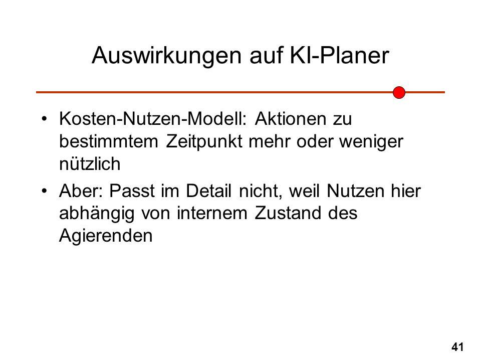 41 Auswirkungen auf KI-Planer Kosten-Nutzen-Modell: Aktionen zu bestimmtem Zeitpunkt mehr oder weniger nützlich Aber: Passt im Detail nicht, weil Nutz