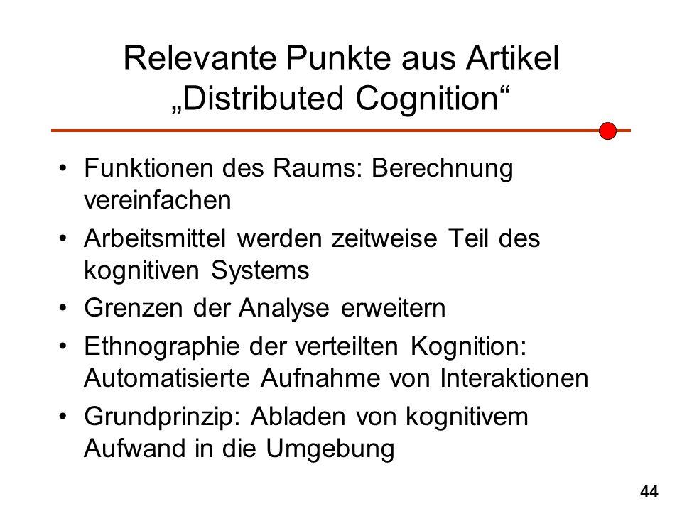 44 Relevante Punkte aus Artikel Distributed Cognition Funktionen des Raums: Berechnung vereinfachen Arbeitsmittel werden zeitweise Teil des kognitiven