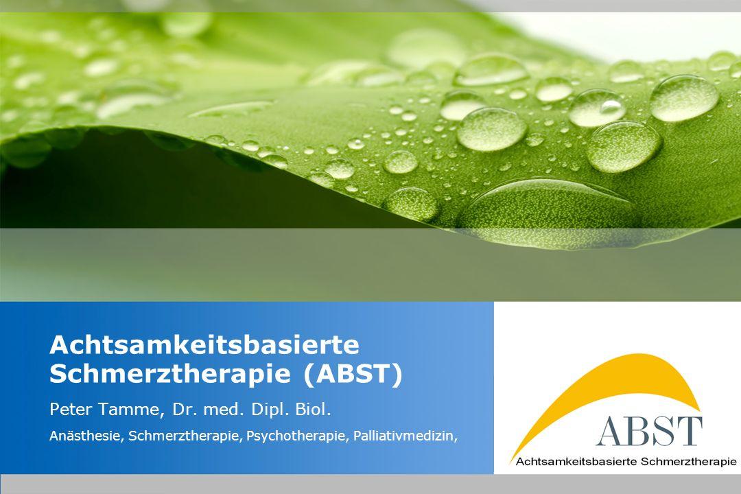 YOUR LOGO Achtsamkeitsbasierte Schmerztherapie (ABST) Strategie nicht Frei sein vom Schmerz sondern Frei sein im Schmerz (Der Schmerz muß nicht weg sein, um mich wohler zu fühlen)