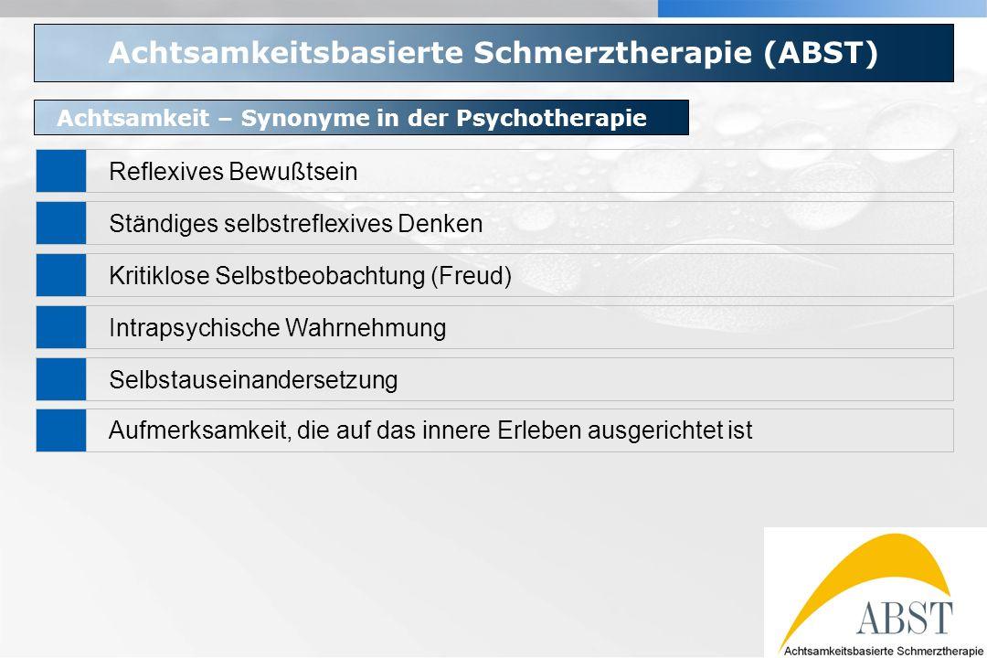 YOUR LOGO Achtsamkeitsbasierte Schmerztherapie (ABST) Achtsamkeit – Synonyme in der Psychotherapie Reflexives Bewußtsein Ständiges selbstreflexives De