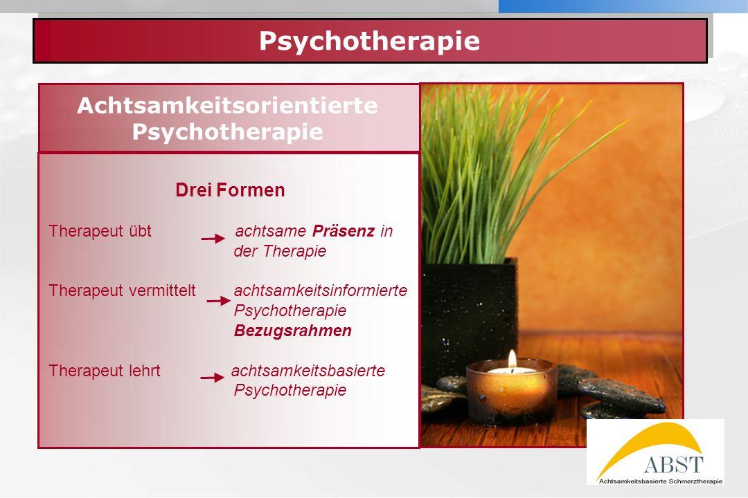 YOUR LOGO Psychotherapie Achtsamkeitsorientierte Psychotherapie Drei Formen Therapeut übt achtsame Präsenz in der Therapie Therapeut vermittelt achtsa