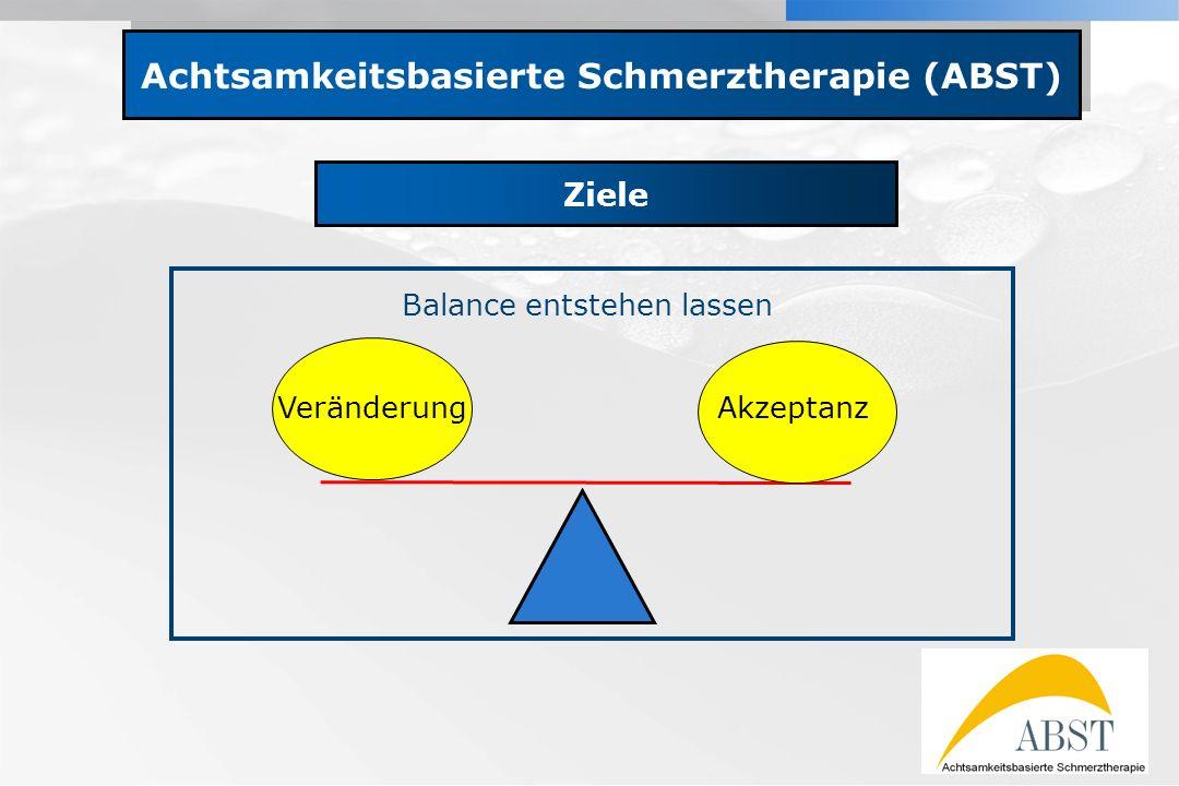 YOUR LOGO Achtsamkeitsbasierte Schmerztherapie (ABST) Ziele VeränderungAkzeptanz Balance entstehen lassen