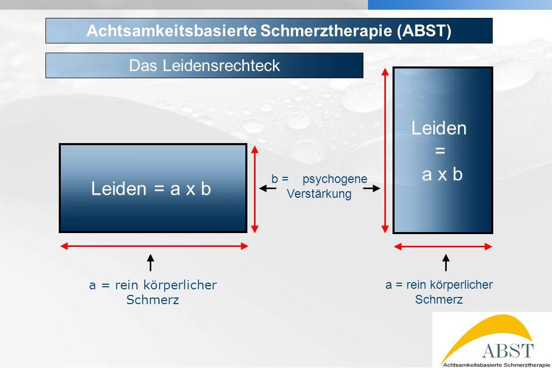 YOUR LOGO Leiden = a x b Leiden = a x b a = rein körperlicher Schmerz b = psychogene Verstärkung Achtsamkeitsbasierte Schmerztherapie (ABST) Das Leide