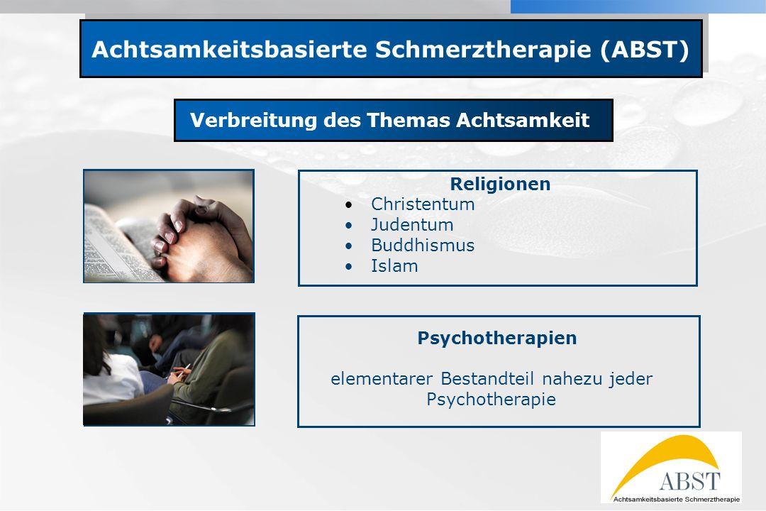 YOUR LOGO Achtsamkeitsbasierte Schmerztherapie (ABST) Verbreitung des Themas Achtsamkeit Religionen Christentum Judentum Buddhismus Islam Psychotherap
