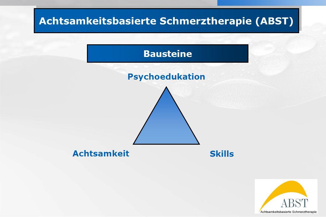YOUR LOGO Achtsamkeitsbasierte Schmerztherapie (ABST) Bausteine Psychoedukation Achtsamkeit Skills