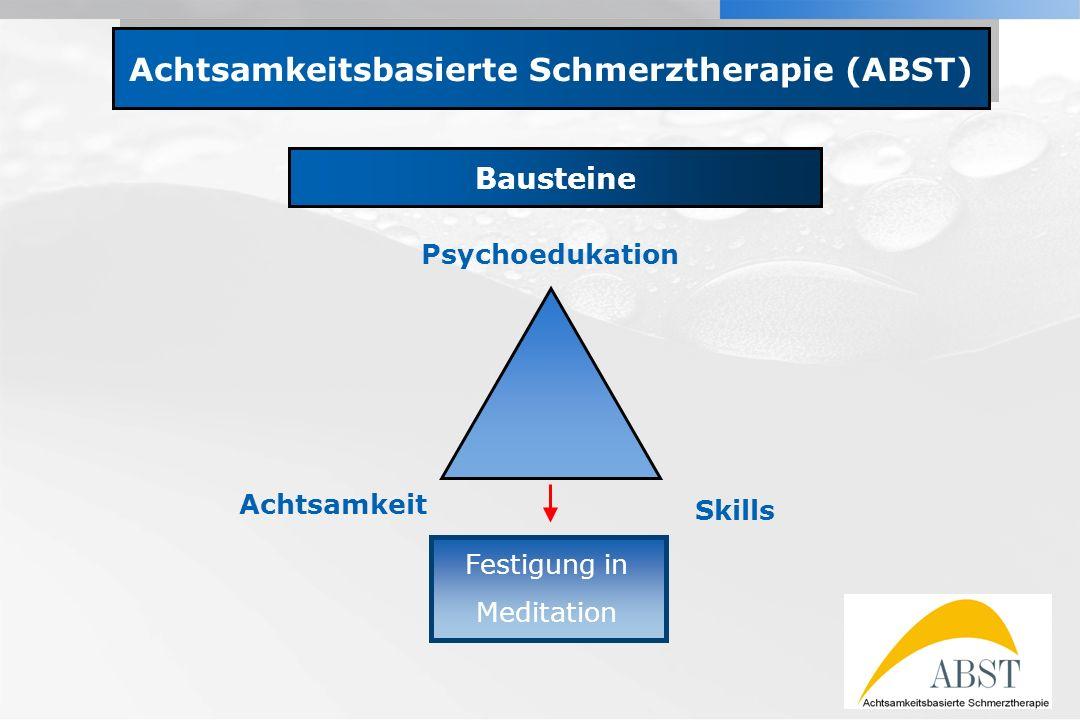 YOUR LOGO Achtsamkeitsbasierte Schmerztherapie (ABST) Bausteine Psychoedukation Achtsamkeit Skills Festigung in Meditation
