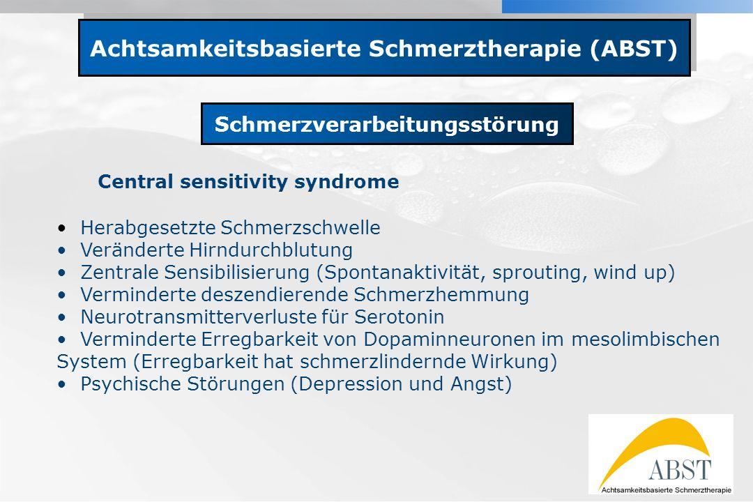 YOUR LOGO Achtsamkeitsbasierte Schmerztherapie (ABST) Schmerzverarbeitungsstörung Central sensitivity syndrome Herabgesetzte Schmerzschwelle Verändert