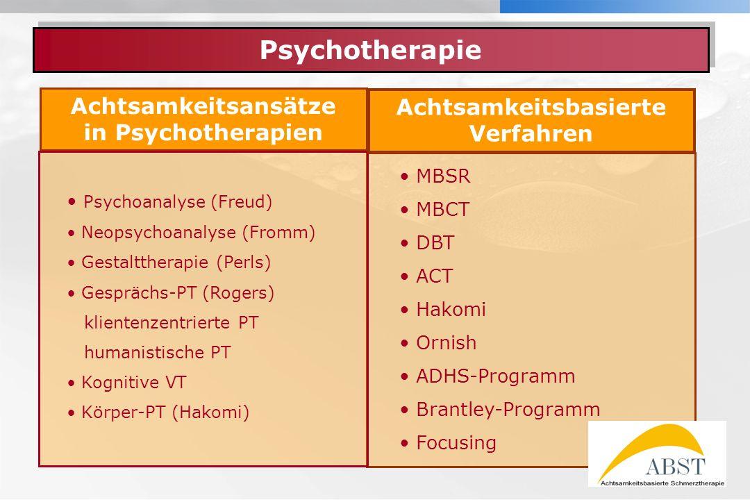 YOUR LOGO Achtsamkeitsansätze in Psychotherapien Psychotherapie MBSR MBCT DBT ACT Hakomi Ornish ADHS-Programm Brantley-Programm Focusing Achtsamkeitsbasierte Verfahren Psychoanalyse (Freud) Neopsychoanalyse (Fromm) Gestalttherapie (Perls) Gesprächs-PT (Rogers) klientenzentrierte PT humanistische PT Kognitive VT Körper-PT (Hakomi) 3.