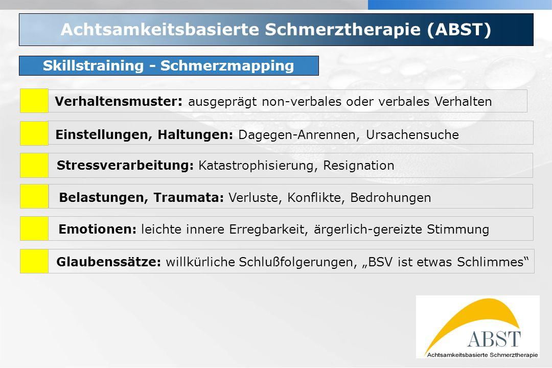 YOUR LOGO Achtsamkeitsbasierte Schmerztherapie (ABST) Skillstraining - Schmerzmapping Verhaltensmuster : ausgeprägt non-verbales oder verbales Verhalt