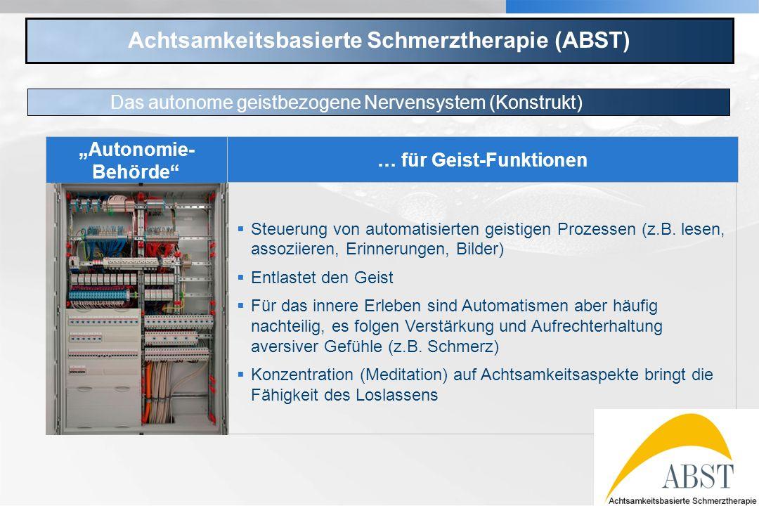YOUR LOGO Achtsamkeitsbasierte Schmerztherapie (ABST) Das autonome geistbezogene Nervensystem (Konstrukt) … für Geist-Funktionen Steuerung von automat