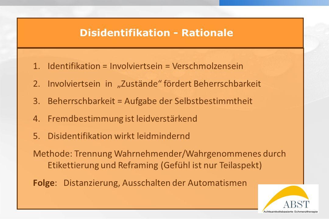 YOUR LOGO Disidentifikation - Rationale 1.Identifikation = Involviertsein = Verschmolzensein 2.Involviertsein in Zustände fördert Beherrschbarkeit 3.B