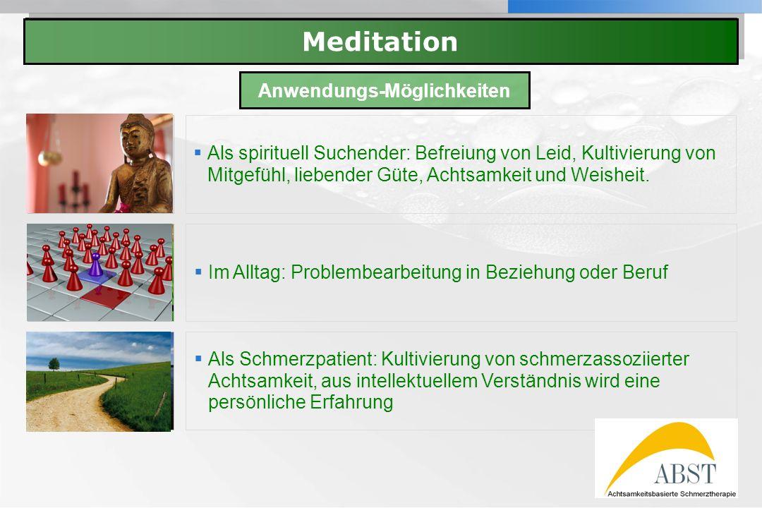 YOUR LOGO Meditation Als spirituell Suchender: Befreiung von Leid, Kultivierung von Mitgefühl, liebender Güte, Achtsamkeit und Weisheit. Im Alltag: Pr
