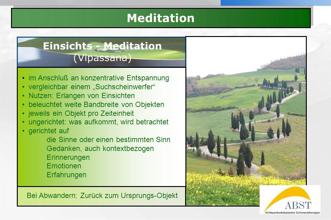 YOUR LOGO Meditation Einsichts - Meditation (Vipassana) im Anschluß an konzentrative Entspannung vergleichbar einem Suchscheinwerfer Nutzen: Erlangen