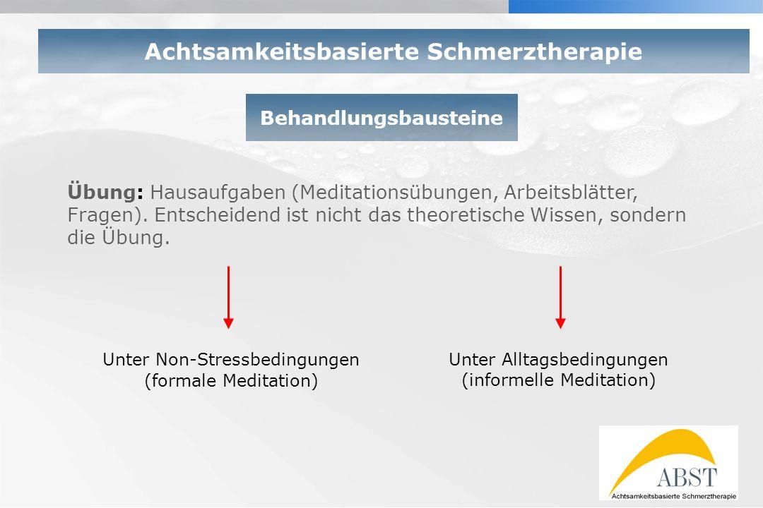 YOUR LOGO Behandlungsbausteine Achtsamkeitsbasierte Schmerztherapie Übung: Hausaufgaben (Meditationsübungen, Arbeitsblätter, Fragen). Entscheidend ist