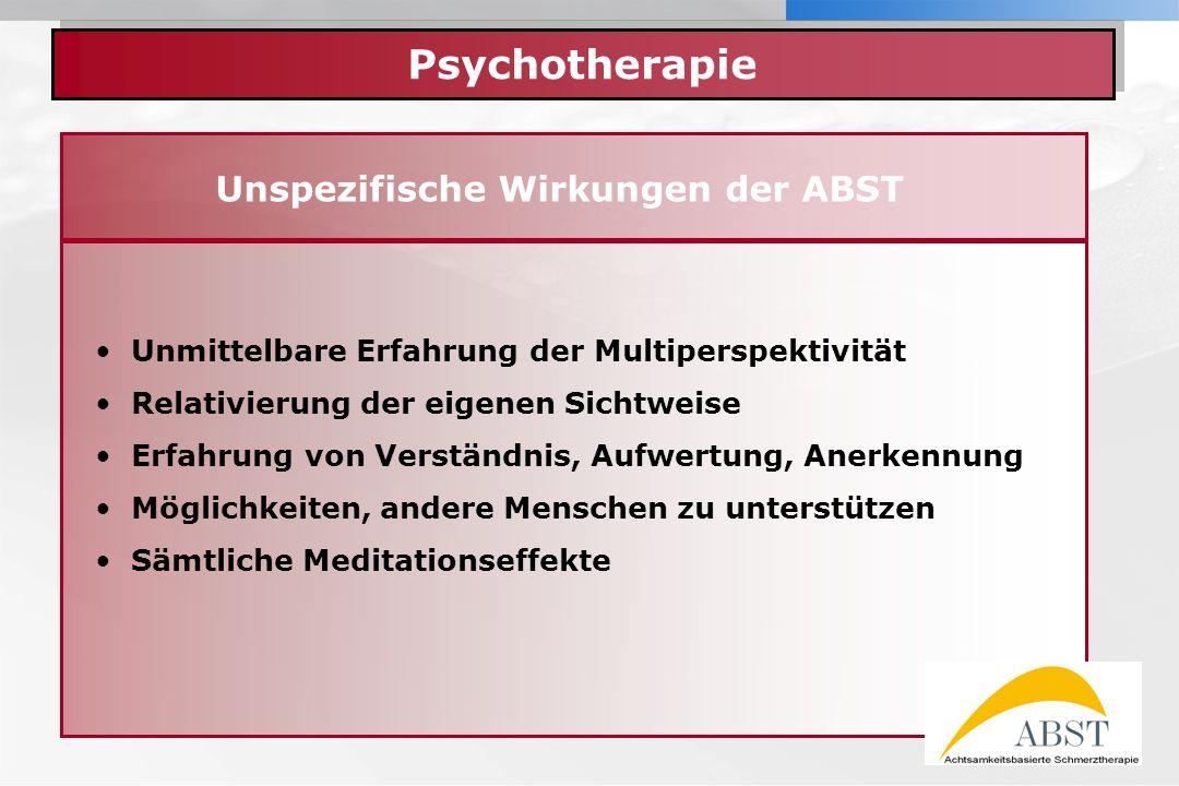 YOUR LOGO Psychotherapie Unspezifische Wirkungen der ABST Unmittelbare Erfahrung der Multiperspektivität Relativierung der eigenen Sichtweise Erfahrun