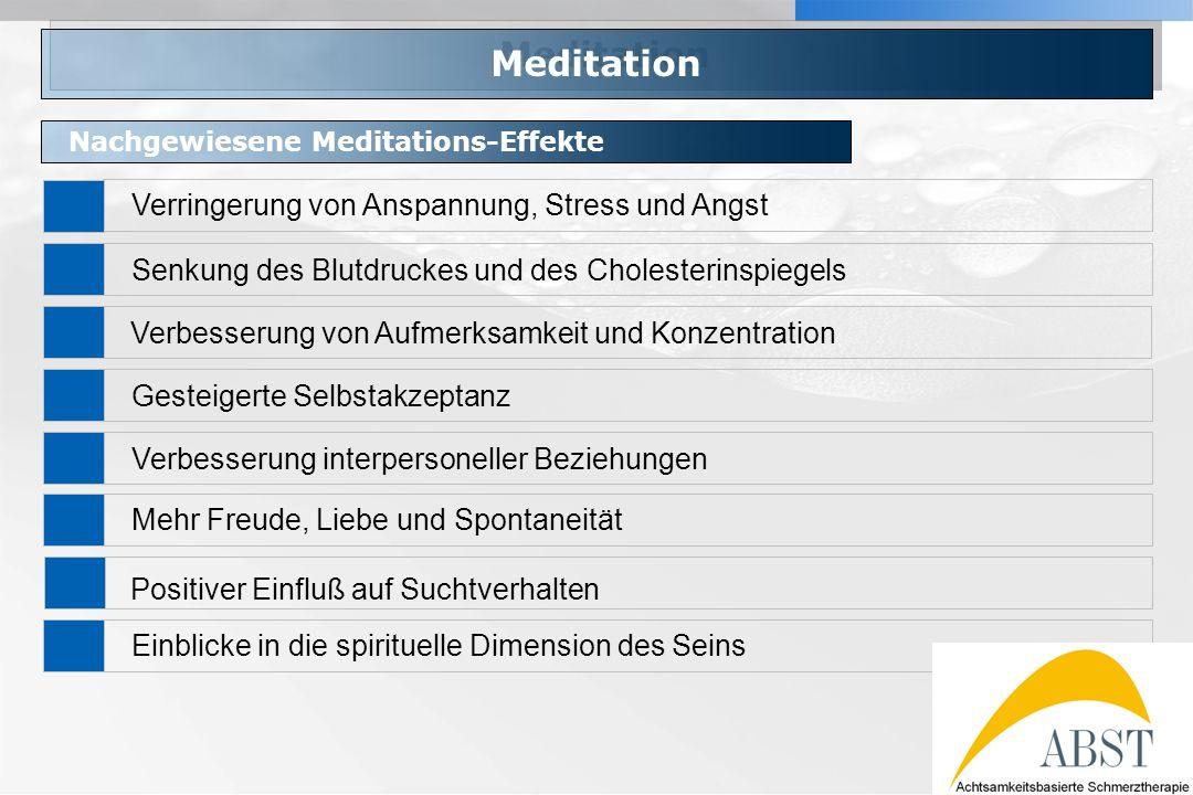 YOUR LOGO Meditation Nachgewiesene Meditations-Effekte Verringerung von Anspannung, Stress und Angst Senkung des Blutdruckes und des Cholesterinspiege