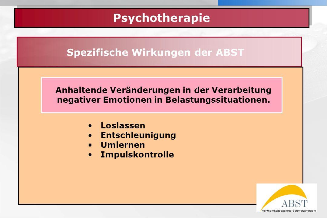 YOUR LOGO Psychotherapie Spezifische Wirkungen der ABST Loslassen Entschleunigung Umlernen Impulskontrolle Anhaltende Veränderungen in der Verarbeitun