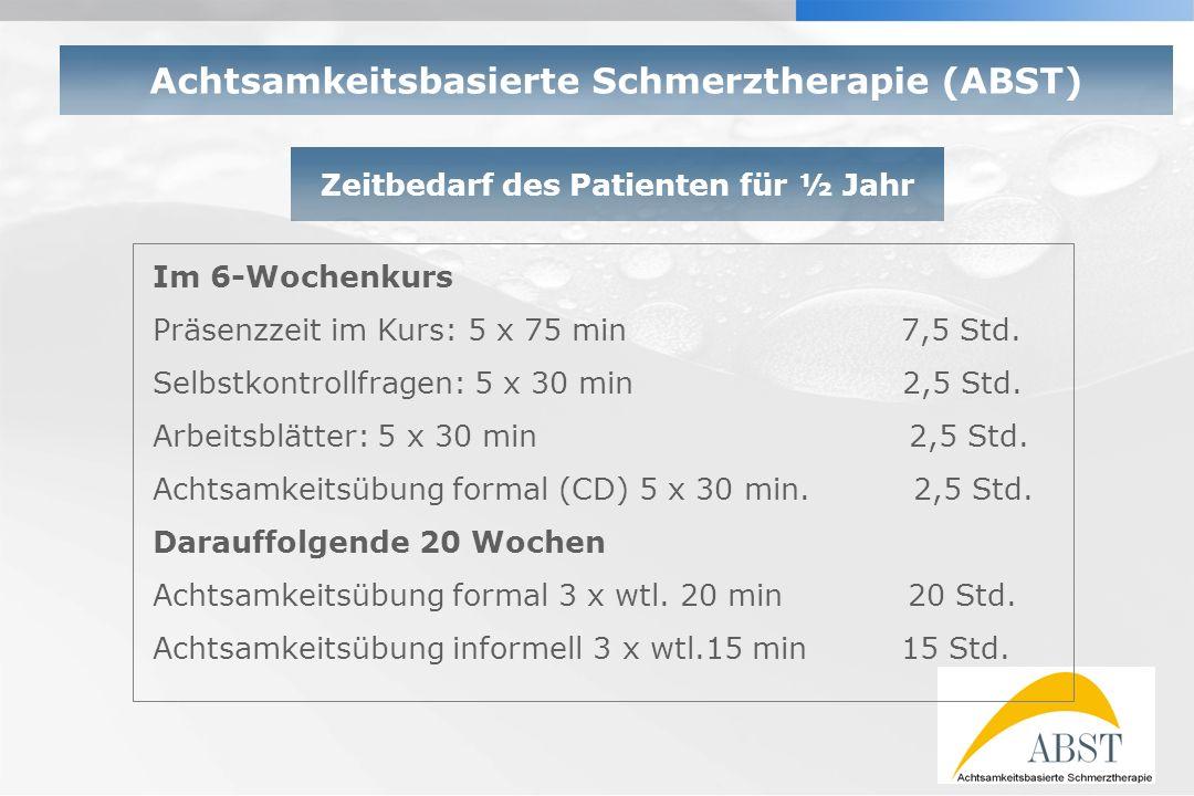 YOUR LOGO Zeitbedarf des Patienten für ½ Jahr Im 6-Wochenkurs Präsenzzeit im Kurs: 5 x 75 min 7,5 Std. Selbstkontrollfragen: 5 x 30 min 2,5 Std. Arbei