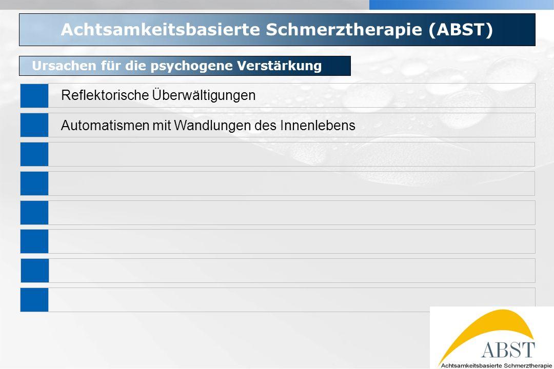 YOUR LOGO Achtsamkeitsbasierte Schmerztherapie (ABST) Ursachen für die psychogene Verstärkung Reflektorische Überwältigungen Automatismen mit Wandlung