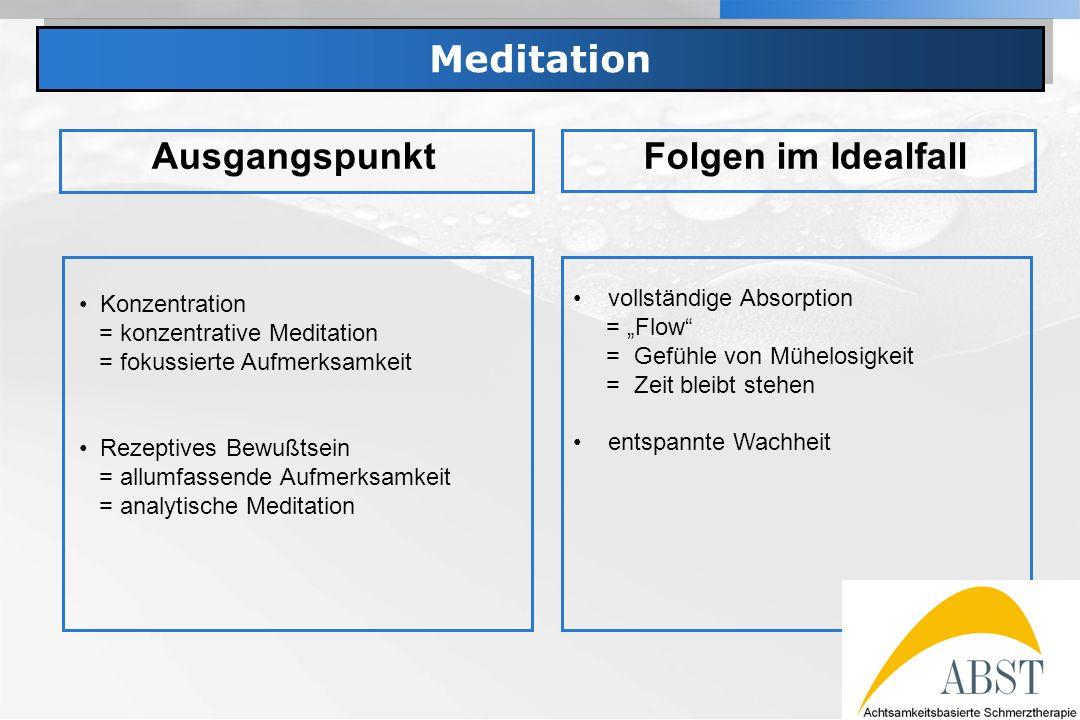 YOUR LOGO Meditation AusgangspunktFolgen im Idealfall Konzentration = konzentrative Meditation = fokussierte Aufmerksamkeit Rezeptives Bewußtsein = al