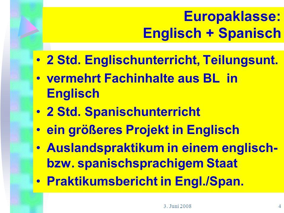 3. Juni 2008 4 Europaklasse: Englisch + Spanisch 2 Std. Englischunterricht, Teilungsunt. vermehrt Fachinhalte aus BL in Englisch 2 Std. Spanischunterr
