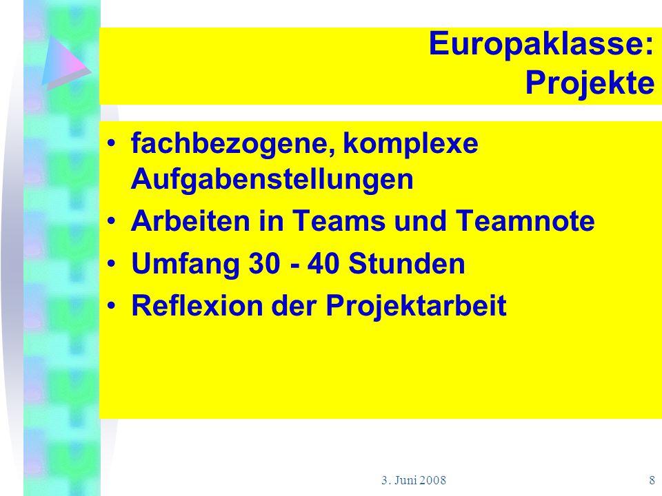 3. Juni 2008 8 Europaklasse: Projekte fachbezogene, komplexe Aufgabenstellungen Arbeiten in Teams und Teamnote Umfang 30 - 40 Stunden Reflexion der Pr