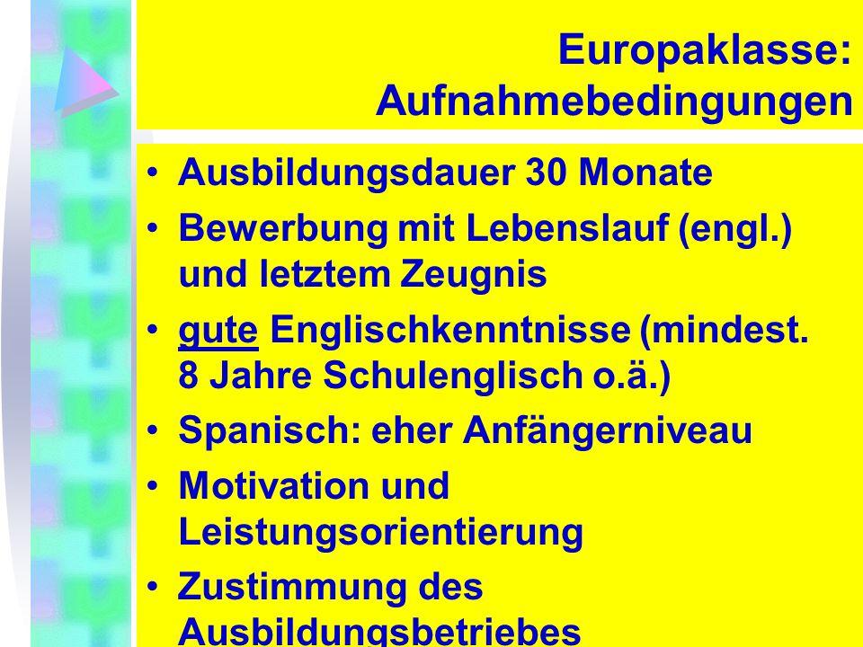 3. Juni 2008 9 Europaklasse: Aufnahmebedingungen Ausbildungsdauer 30 Monate Bewerbung mit Lebenslauf (engl.) und letztem Zeugnis gute Englischkenntnis