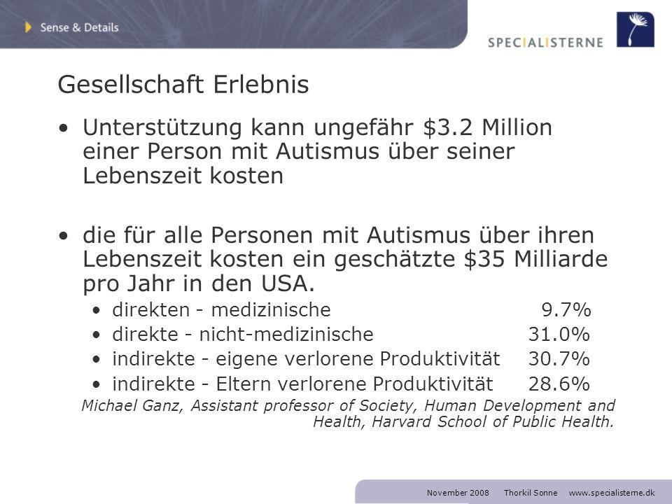November 2008 Thorkil Sonne www.specialisterne.dk Gesellschaft Erlebnis Unterstützung kann ungefähr $3.2 Million einer Person mit Autismus über seiner Lebenszeit kosten die für alle Personen mit Autismus über ihren Lebenszeit kosten ein geschätzte $35 Milliarde pro Jahr in den USA.