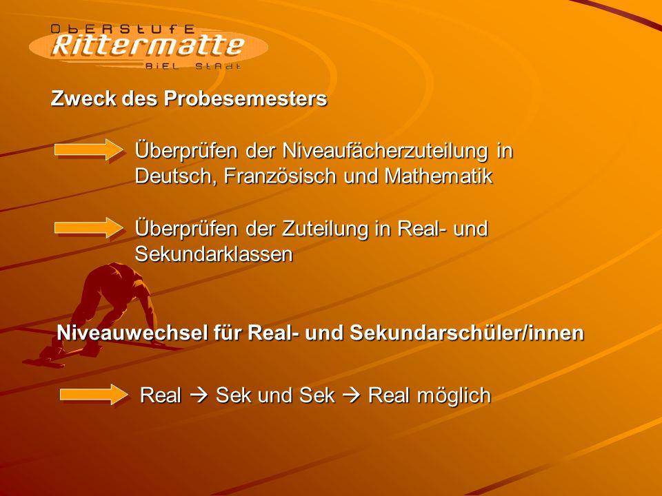 Zweck des Probesemesters Überprüfen der Niveaufächerzuteilung in Deutsch, Französisch und Mathematik Überprüfen der Zuteilung in Real- und Sekundarklassen Niveauwechsel für Real- und Sekundarschüler/innen Real Sek und Sek Real möglich