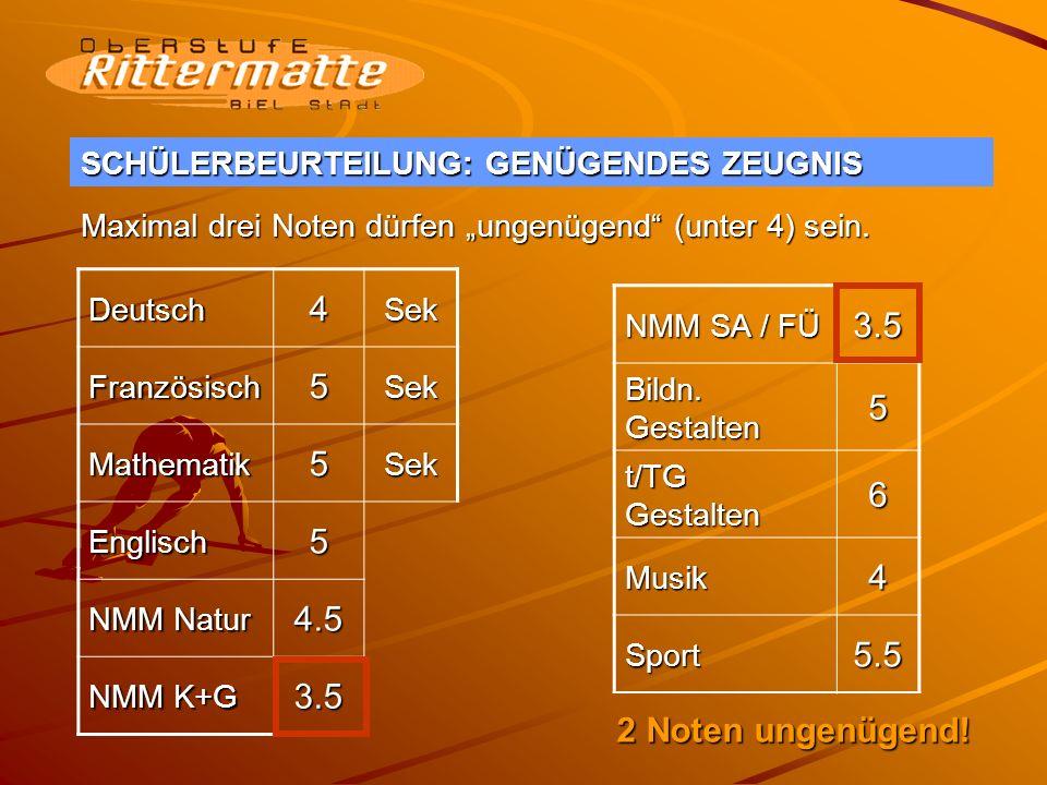 SCHÜLERBEURTEILUNG: GENÜGENDES ZEUGNIS I Deutsch4Sek Französisch5Sek Mathematik3Sek Englisch5 NMM Natur 4.5 NMM K+G 4 NMM SA / FÜ 3.5 Bildn.