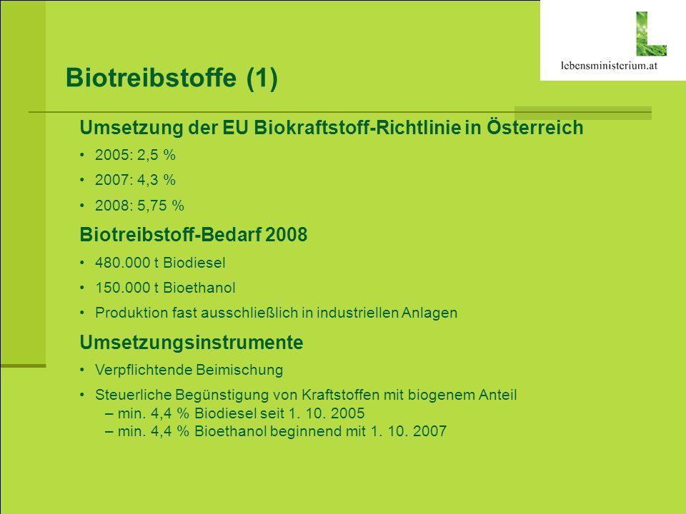 Biotreibstoffe (1) Umsetzung der EU Biokraftstoff-Richtlinie in Österreich 2005: 2,5 % 2007: 4,3 % 2008: 5,75 % Biotreibstoff-Bedarf 2008 480.000 t Bi