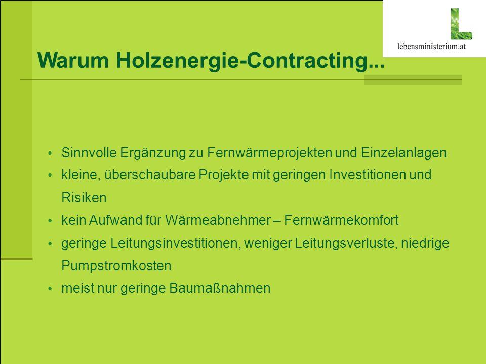 Warum Holzenergie-Contracting... Sinnvolle Ergänzung zu Fernwärmeprojekten und Einzelanlagen kleine, überschaubare Projekte mit geringen Investitionen