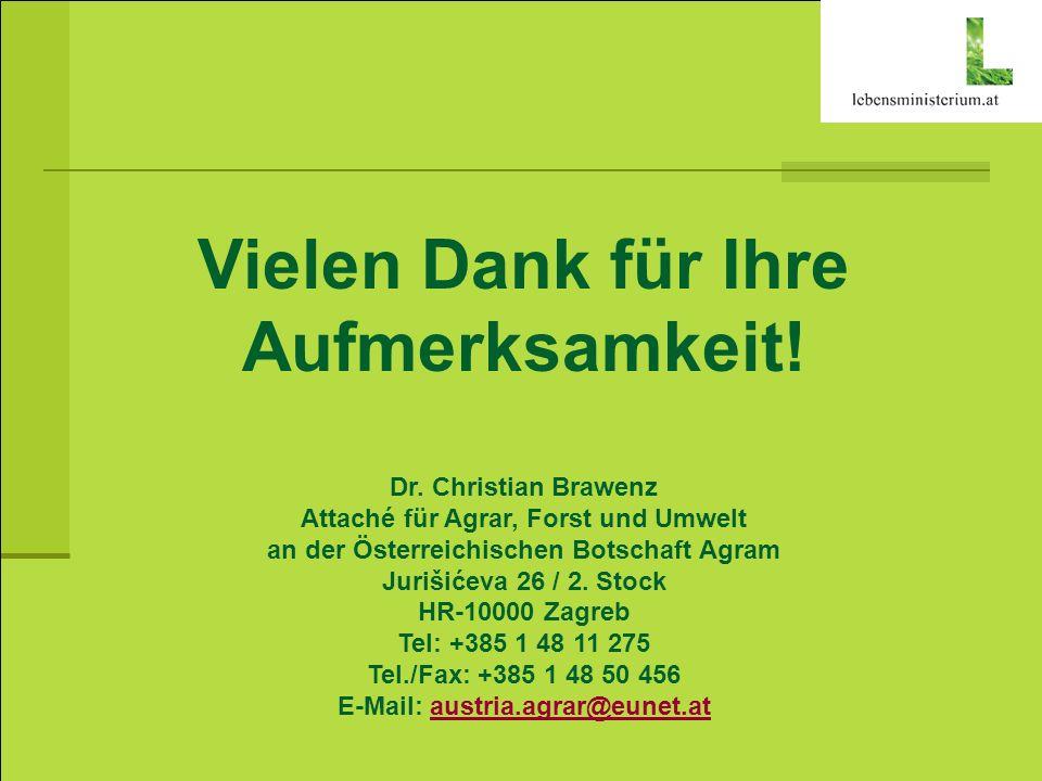 Vielen Dank für Ihre Aufmerksamkeit! Dr. Christian Brawenz Attaché für Agrar, Forst und Umwelt an der Österreichischen Botschaft Agram Jurišićeva 26 /
