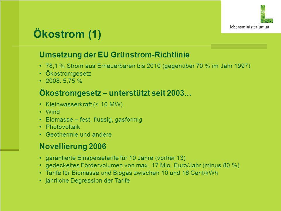 Ökostrom (1) Umsetzung der EU Grünstrom-Richtlinie 78,1 % Strom aus Erneuerbaren bis 2010 (gegenüber 70 % im Jahr 1997) Ökostromgesetz 2008: 5,75 % Ök