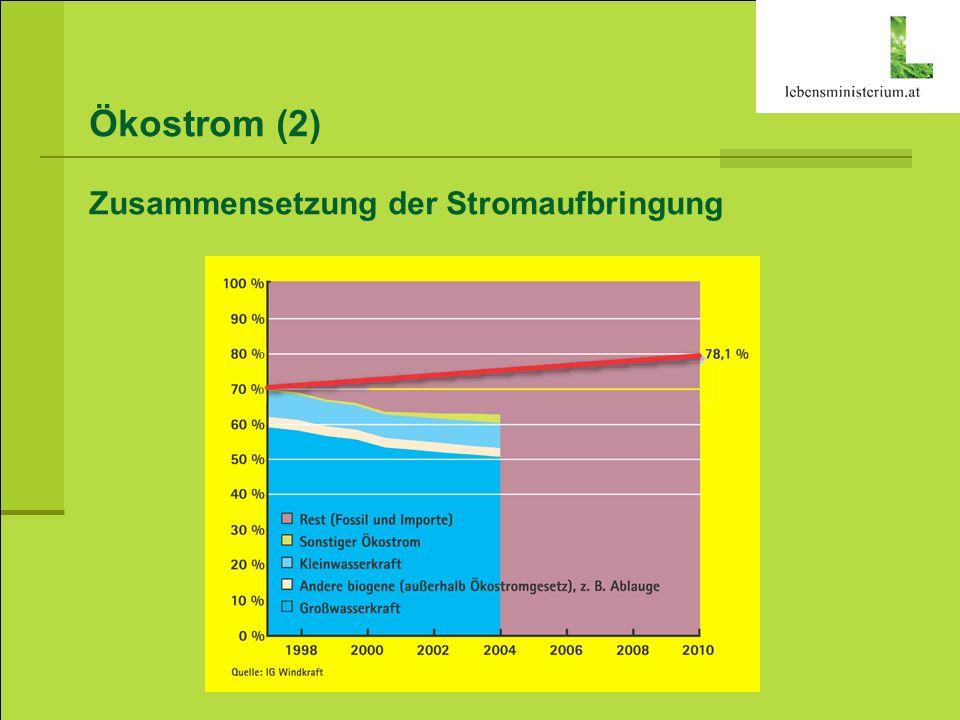 Biotreibstoffe (1) Umsetzung der EU Biokraftstoff-Richtlinie in Österreich 2005: 2,5 % 2007: 4,3 % 2008: 5,75 % Biotreibstoff-Bedarf 2008 480.000 t Biodiesel 150.000 t Bioethanol Produktion fast ausschließlich in industriellen Anlagen Umsetzungsinstrumente Verpflichtende Beimischung Steuerliche Begünstigung von Kraftstoffen mit biogenem Anteil – min.