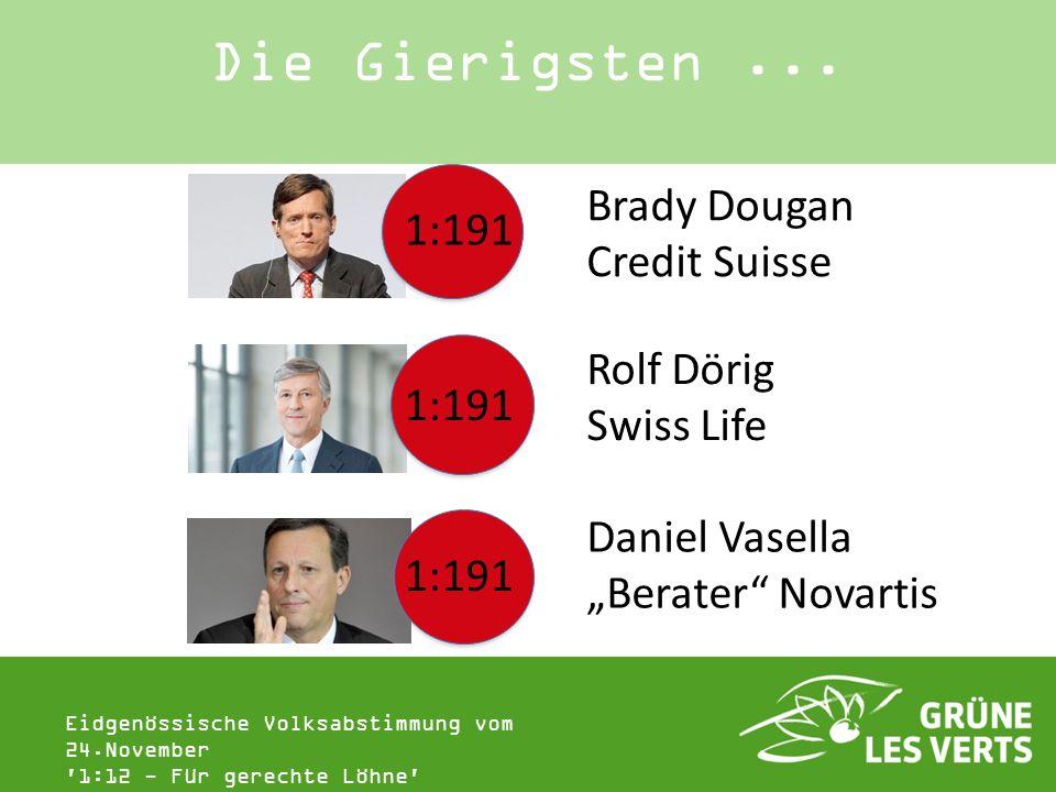 Eidgenössische Volksabstimmung vom 24.November '1:12 - Für gerechte Löhne' Die Gierigsten... 1:191 Brady Dougan Credit Suisse Rolf Dörig Swiss Life Da