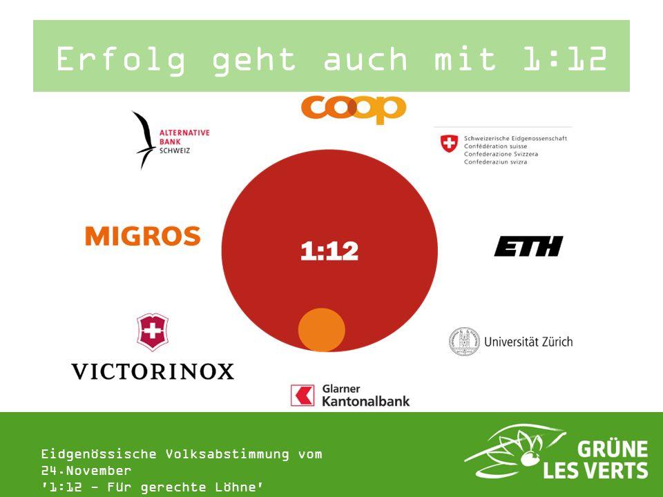 Eidgenössische Volksabstimmung vom 24.November '1:12 - Für gerechte Löhne' Erfolg geht auch mit 1:12