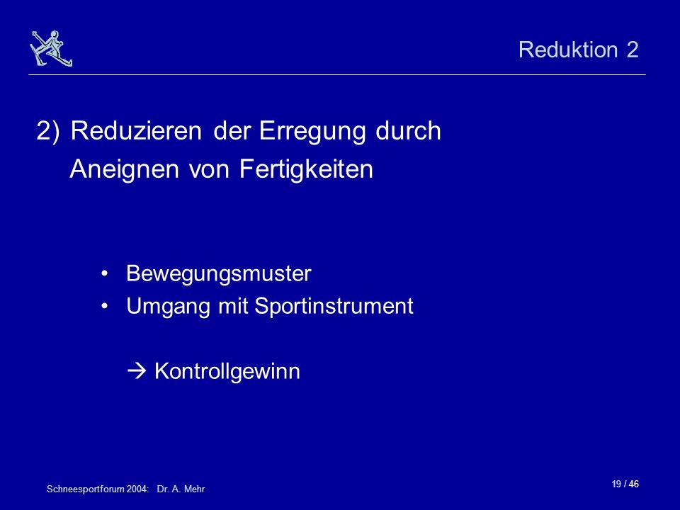 19 / 46 Schneesportforum 2004: Dr. A. Mehr Reduktion 2 Bewegungsmuster Umgang mit Sportinstrument Kontrollgewinn 2)Reduzieren der Erregung durch Aneig
