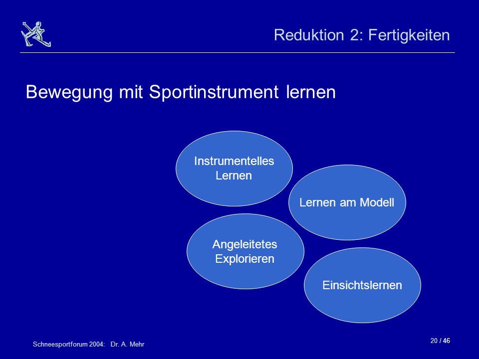 20 / 46 Schneesportforum 2004: Dr. A. Mehr Reduktion 2: Fertigkeiten Einsichtslernen Lernen am Modell Instrumentelles Lernen Angeleitetes Explorieren