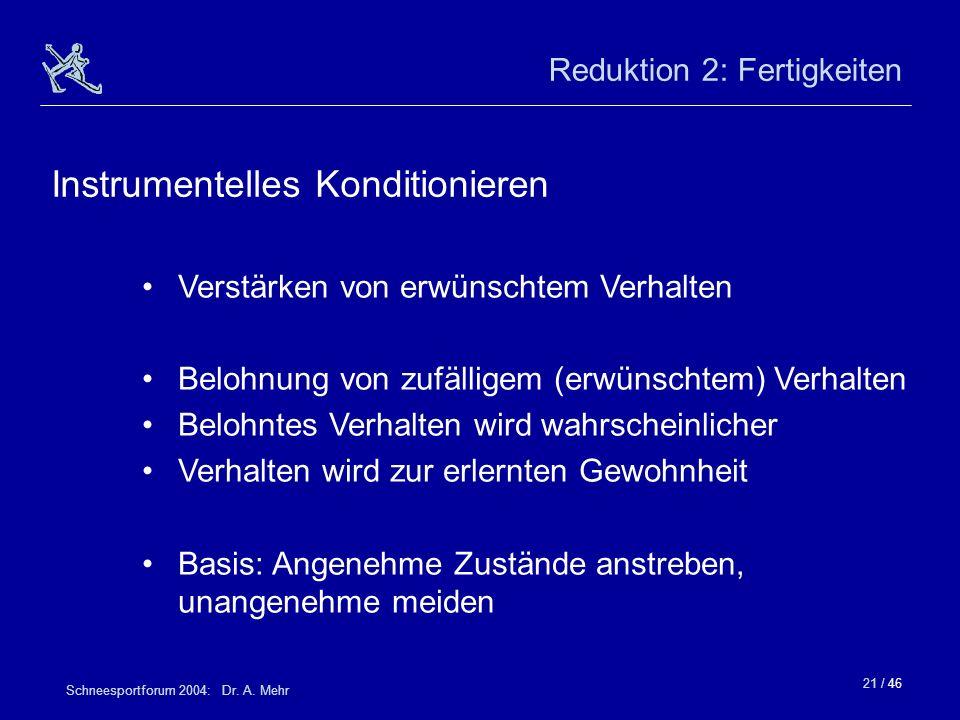 21 / 46 Schneesportforum 2004: Dr. A. Mehr Reduktion 2: Fertigkeiten Verstärken von erwünschtem Verhalten Belohnung von zufälligem (erwünschtem) Verha