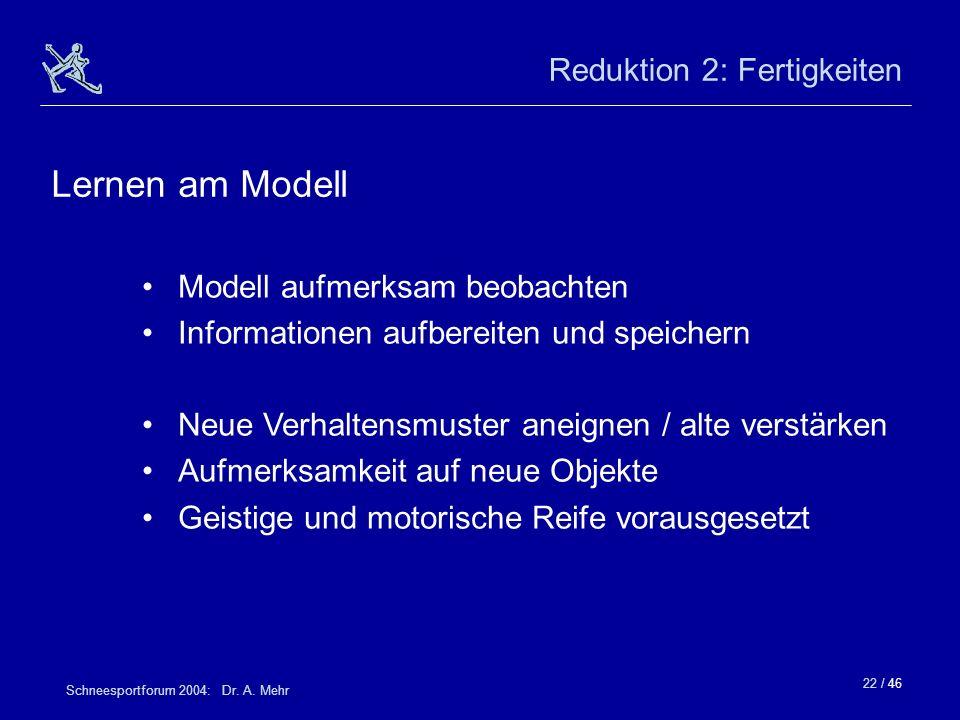 22 / 46 Schneesportforum 2004: Dr. A. Mehr Reduktion 2: Fertigkeiten Modell aufmerksam beobachten Informationen aufbereiten und speichern Neue Verhalt