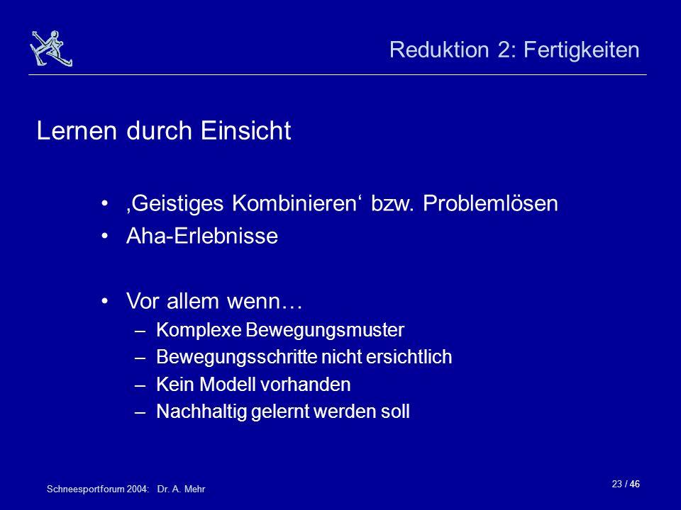 23 / 46 Schneesportforum 2004: Dr. A. Mehr Reduktion 2: Fertigkeiten Geistiges Kombinieren bzw. Problemlösen Aha-Erlebnisse Vor allem wenn… –Komplexe