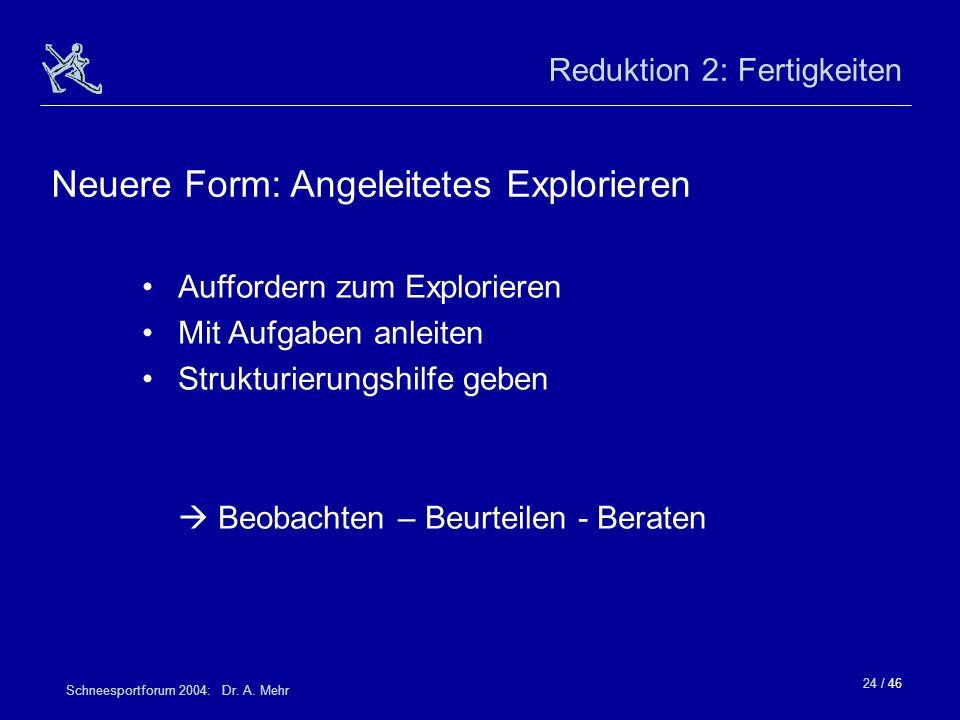 24 / 46 Schneesportforum 2004: Dr. A. Mehr Reduktion 2: Fertigkeiten Auffordern zum Explorieren Mit Aufgaben anleiten Strukturierungshilfe geben Beoba