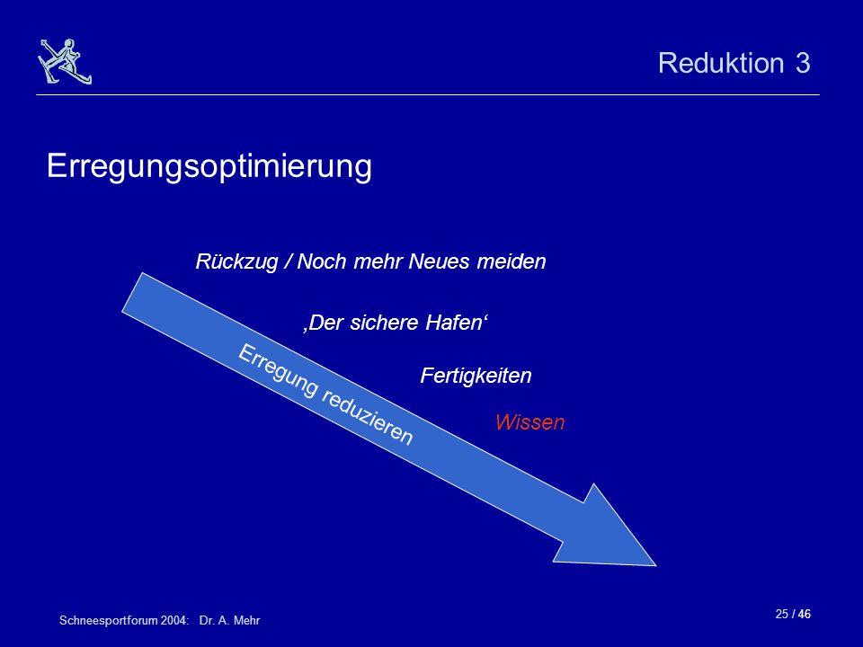 25 / 46 Schneesportforum 2004: Dr. A. Mehr Reduktion 3 Erregungsoptimierung Der sichere Hafen Rückzug / Noch mehr Neues meiden Fertigkeiten Wissen Err