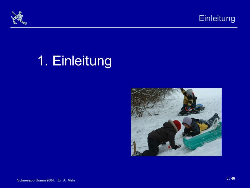 3 / 46 Schneesportforum 2004: Dr. A. Mehr Einleitung 1. Einleitung