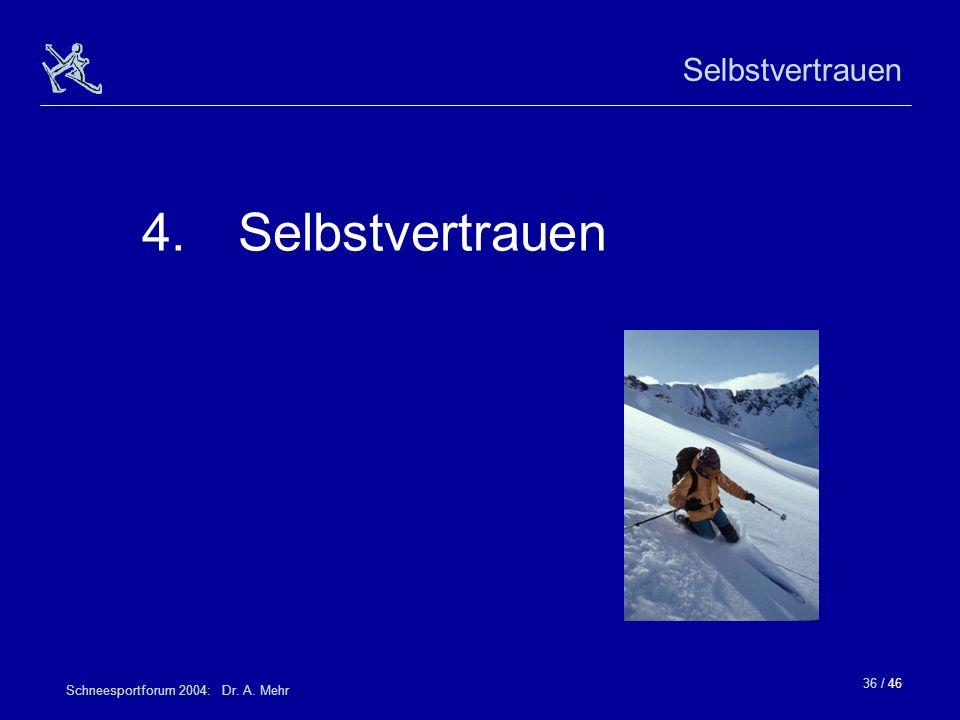 36 / 46 Schneesportforum 2004: Dr. A. Mehr Selbstvertrauen 4.Selbstvertrauen