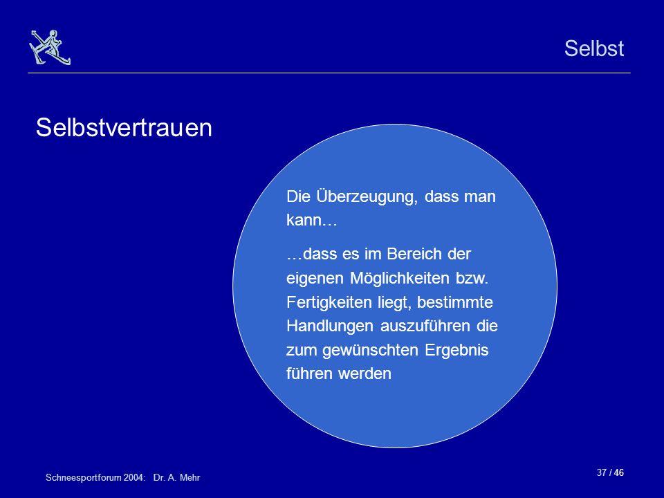 37 / 46 Schneesportforum 2004: Dr. A. Mehr Selbst Selbstvertrauen Die Überzeugung, dass man kann… …dass es im Bereich der eigenen Möglichkeiten bzw. F