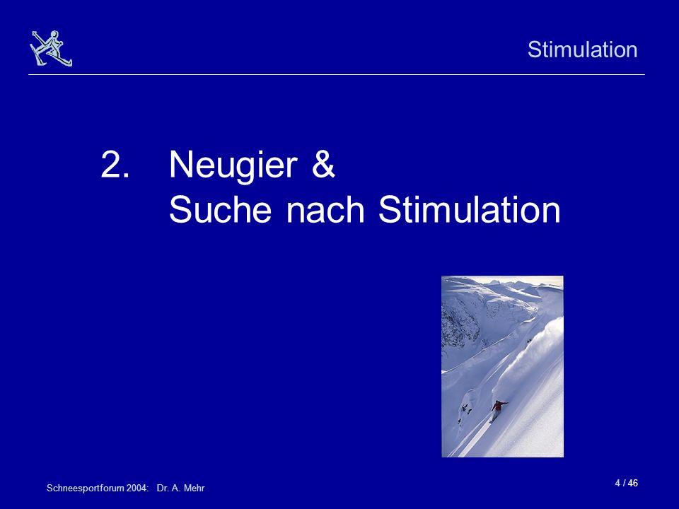 4 / 46 Schneesportforum 2004: Dr. A. Mehr Stimulation 2.Neugier & Suche nach Stimulation
